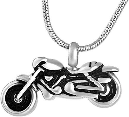 DUEJJH Co.,ltd Collar Vintage Moto Cre Cenizas Colgante Collar Souvenir Collar Joyería Regalo-Negro-Plata