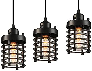 Pihappy Retro Vintage Barn Ceiling Hanging Lamp Pendant Light Rustic Adjustable Mini Metal Cage Shade Modern Light Fixture 3 Pack Without BLUBS (Black)