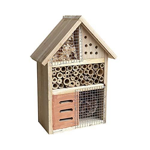 Insektenhotel hängend 185 x 90 x 260 mm, naturbelassene Nisthilfe für verschiedene Insekten