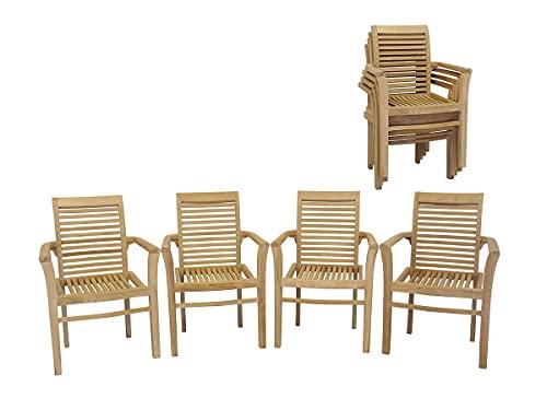 Antike Fundgrube Gartenstühle 4er Set aus massiv Teakholz   Armlehner Stapelstuhl Stapelstühle (3635)