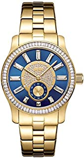 JBW Celine Women's Blue Dial Gold Plated Stainless Steel Band Watch - J6349B