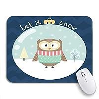 ECOMAOMI 可愛いマウスパッド ノートマウスマット用ガラスボールメリーノンスリップゴムバッキングコンピューターマウスパッド内のかわいいフクロウを雪にしましょう