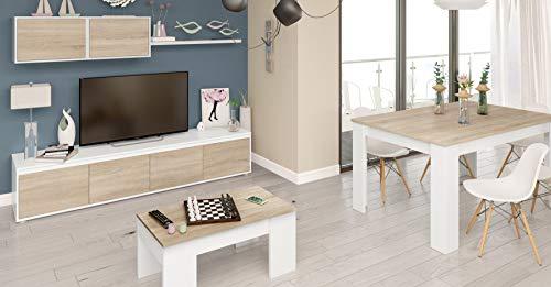 pequeño y compacto Milo Tengopack Muebles De Salón Comedor Completo Estilo Escandinavo Roble Blanco