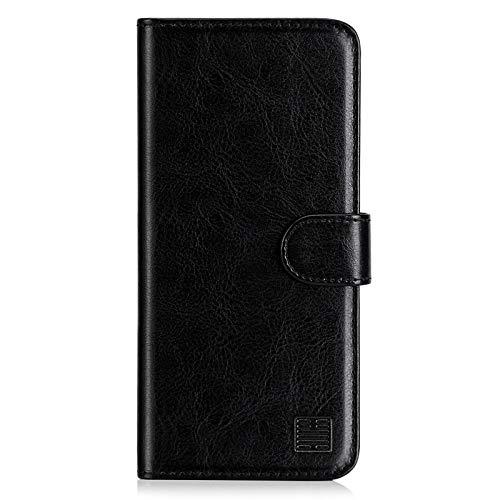 32nd Funda Flip Carcasa de Piel Tipo Billetera para Xiaomi Redmi 9C con Tapa y Cierre Magnético y Tarjetero - Negro