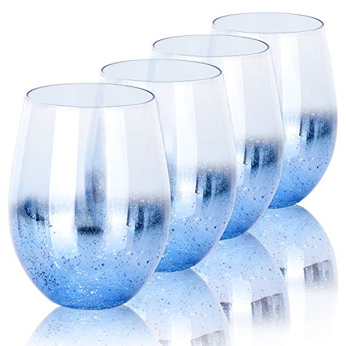 drinking glass for wine beers Cocktail Glasses, Beasea 18.6 oz Blue Drinking Glasses Set of 4, Beer Glasses Glassware Beverage Glass Shiny Beverage Tumbler Wine Glass for Water Juice