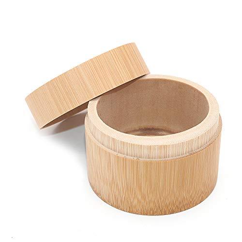 POFET Grasa cilíndrica forma redonda portátil hecho a mano de bambú natural té tarro de almacenamiento contenedor caja de uso en el hogar