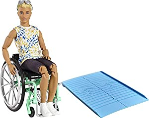 The latest line of Barbie and Ken Fashionistas dolls includes different body types and a mix of skin tones, eye colors, hair colors, hairstyles and so many fashions inspired by the latest trends! Ken doll comes with a wheelchair that has rolling whee...