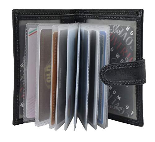 COVERI Creditcardhouder echt leer met 12 vakken, tas voor bankbiljetten, sluiting met drukknoop, geschenkdoos