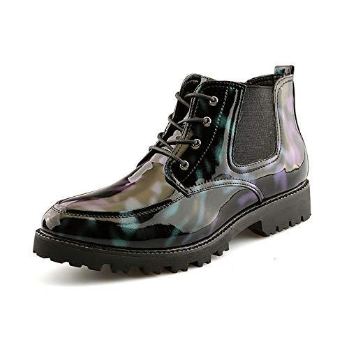 DIBAO Botas de Tobillo de la Moda de los Hombres Personalidad Cursiva Patemetería Patente Cuero Altura Top Boot (Color : Green, Size : 40 EU)