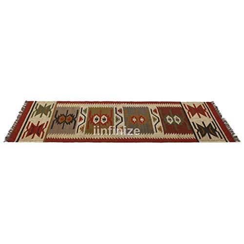 iinfinize Juego de camino de suelo vintage tejido a mano, alfombra rústica, alfombra de lana turca Kilim, alfombra decorativa para el suelo, alfombra de cocina, pasillo de meditación, 2,5 x 8 pies