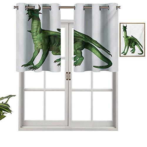 Cenefas opacas con aislamiento térmico con ojales, diseño de dragón de pie y aspecto en miniatura, juego de 2, 137 x 91 cm para dormitorio