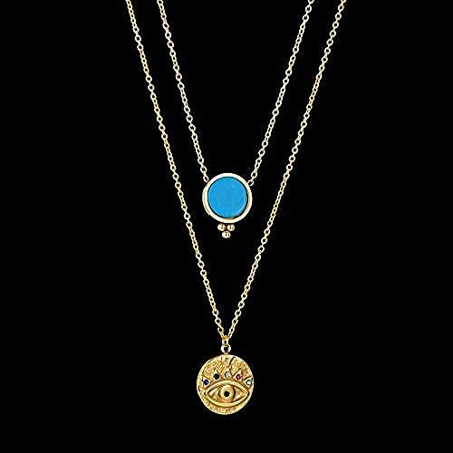 NC163 Collar con Colgante de Ojo de Diablo de Acero Inoxidable Dorado, 3 Colores, Piedra de malaquita Natural, Cadenas de Doble Capa, Collares, joyería