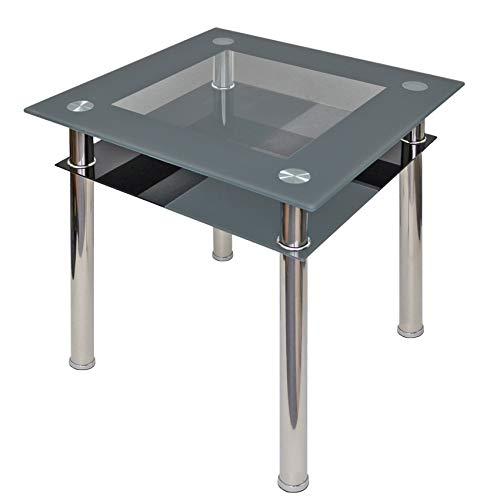 ts-ideen - Tavolo da pranzo in acciaio INOX con vetro di sicurezza monolastra da 10 mm