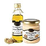 Aceite de trufa blanca con oliva virgen extra Tuber Magnatum Pico (100 ml) para cocinar, servir, ensaladas y 👑 Royal 👑 Salsa de comida gourmet de lujo con crema y queso, risotto, sushi (80g)