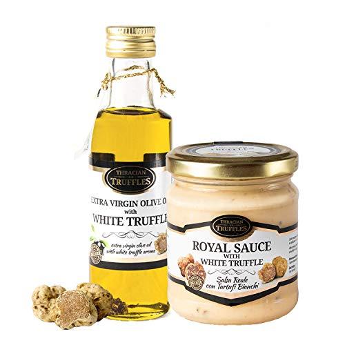 Aceite de trufa blanca con oliva virgen extra Tuber Magnatum Pico (100 ml) para cocinar, servir, ensaladas y 👑 Royal 👑 Salsa de comida gourmet de lujo con crema y queso (180g)