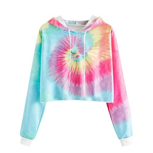 Lazzboy Store Crop Pullover Damen Herbst Langarm Tie-dye Bedrucktes Sweatshirt Kapuze Tops Bluse Hoodie Gedruckt Patchwork(Rosa,S)