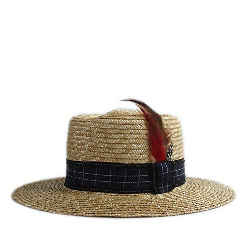 Yiph-Hat Accesorios Sombrero de ala Ancha Diario Decoración de Plumas Parte Inferior Plana Ajustable Verano Panamá Sombrero de Playa Moda Sombrero de Sol Bolos de Paja Sombrero de Paja Solar