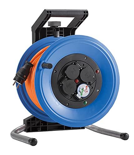 HEDI Carrete de cable 50 m Professional Plus 320 (cable blindado H07BQ-F 3G1,5, enrollador de cable de alimentación con 4 tomas de corriente, para uso en exteriores) K350QTF multicolor