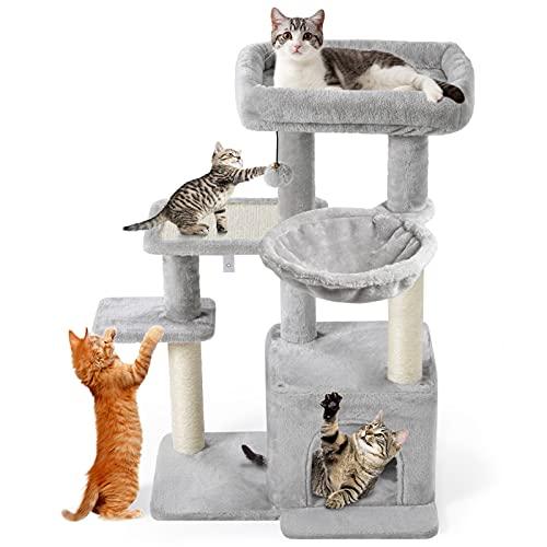 CatRomance Kratzbaum Kletterbaum Katzenbaum mit 2 Großer Aussichtsplattform, Stabiler Kratzbrett Liegemulde und Kuschelhöhle, Katzenbaum für Kitten und Grosse Katzen (Grau)