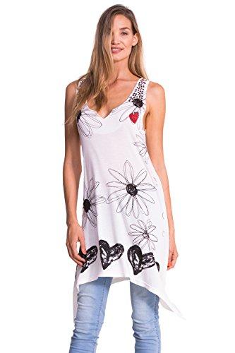 Desigual Damen Top, Bedruckt, Weiß (Blanco), 40 (Herstellergröße: DE:M / FR:L)
