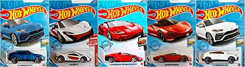 Hot Wheels Lamborghini and McLaren 5 Car Bundle Set Version 2