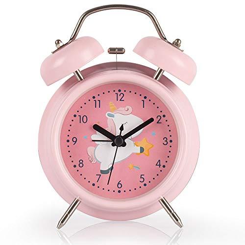 Mädchen Wecker Doppelglockenwecker mit Nachtlicht & Lauter Wecker süße Einhorn Twin Bell Clock dekorativ für Mädchen, batteriebetrieben, Studenten Schlafzimmer-Rosa