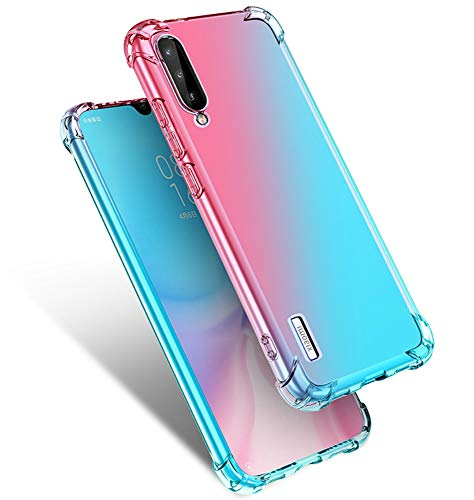 Starhemei for Xiaomi MI A3 Case, Xiaomi Mi CC9e Case, Shockproof Gasbag Case Gradient Color Anti-Fall Soft Silicone Anti-Drop Phone Case for Xiaomi Mi A3 (Pink&Green)