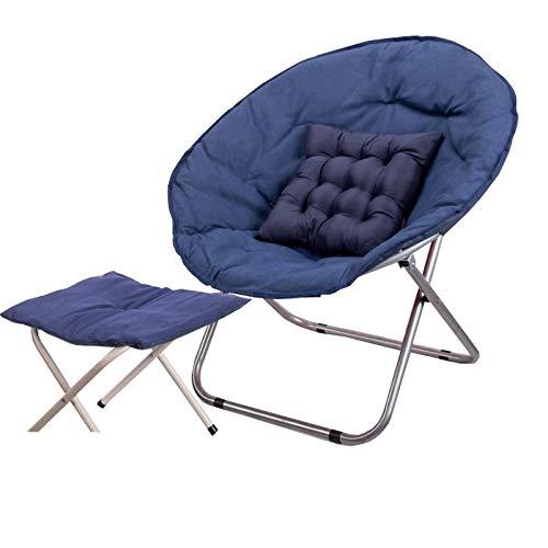KKLL Freizeitstuhl Moon Chair Campingstuhl Klappstuhl und praktisch robust (Color : (Footstool) Navy Blue)