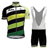 Hengxin Maillot Ciclismo Corto De Verano para Hombre, Ropa Culote Conjunto Traje Culotte Deportivo con 9D Almohadilla De Gel para Bicicleta MTB Ciclista Bici (Verde, S)