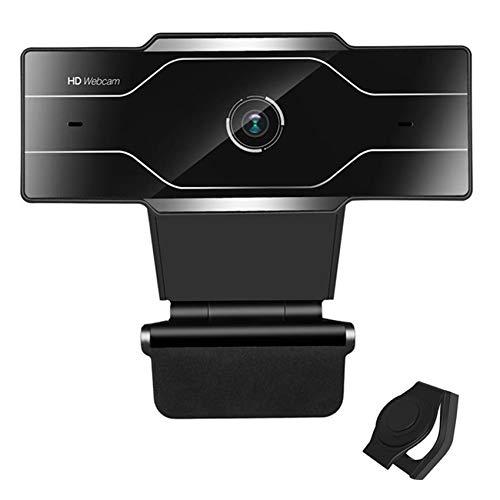 EasyULT Webcam 1080p Full HD con Microfono Stereo e Copertura Webcam, Vista Wide-Angle 90°, USB 2.0 Plug & Play, Webcam per PC Compatibile con Windows e Mac(Nero)