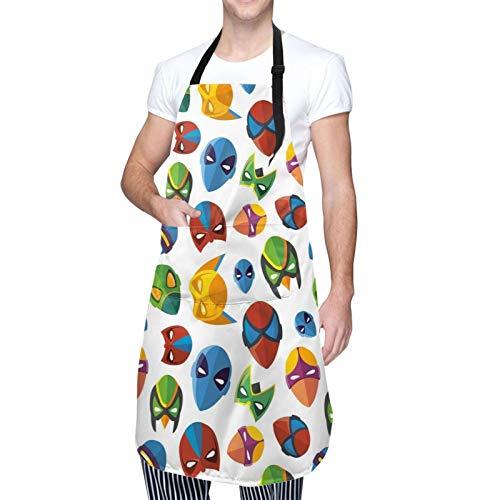 Delantal de Cocina Impermeable con Bolsillos,Disfraz inspirado en cómics coloridos de personaje de,Ajustable Delantales Hombre Mujer Mandil Cocina para Jardinería Restaurante Barbacoa Cocinar Hornear