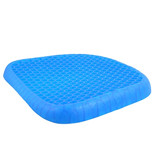 Gel Seat Cushion for Office Chair; Butt Cushions for Long Sitting; Pad for Chairs: Car, Desk, Wheelchair; Egg Crate Design Helps with Back Pain, Tailbone Pressure Relief, Sciatica.