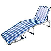 Aktive 53978 Tumbona Plegable 5 Posiciones Aluminio Beach, 188 x 58 x 24 cm, Azul