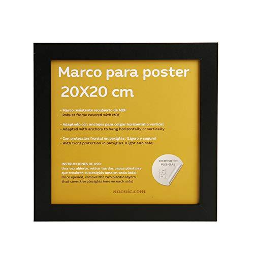 Nacnic Marco Negro tamaño 20x20cm. Marco Negro para Fotos, Posters, Diplomas, …