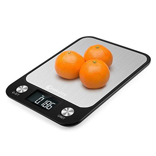 Bilancia da Cucina Elettronica Digitale in Vetro Professionale 10kg Inox Multifunzione di CookJoy, con Funzione Tare e Display LCD,Spegnimento Automatico,Batterie Incluse,Nero