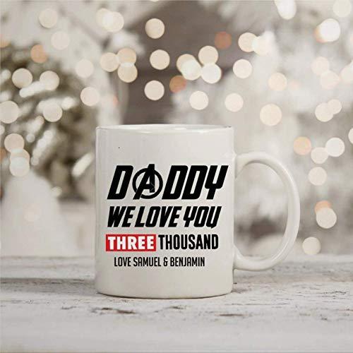 N\A Taza de café, Mar-Vel Endgame Daddy We I Love You 3000 Taza Inspirada Taza de té de café de cerámica Divertida Regalo para Amigo, Familia, Amante, colega, 11 oz