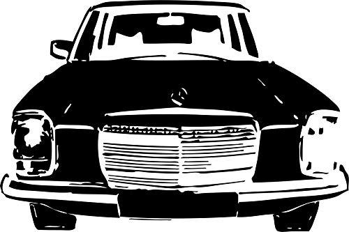 Wandtattoo: Mercedes-Benz/8, Front, Kühlergrill, Strich-Acht, W 114 W 115, Mercedes-Benz, Daimler, Auto, Tuning, Accessoire // Farb- und Größenwahl (Schwarz - 680 mm x 450 mm)