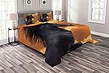 ABAKUHAUS Cavalli Copriletto, Galloping Cavallo frisone, per la Camera da Letto, 220 x 220 cm, Nero Arancione