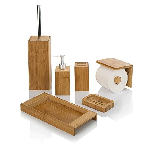 Set de accesorios de baño de bambú - Juego 6 Complementos para Lavabo de madera natural (Dispensador de Jabón, Porta Cepillos, Bandeja, Escobilla wc, Jabonera y Portarrollos con superficie plana)