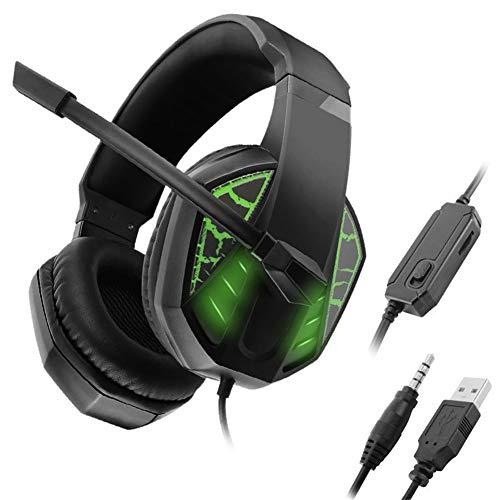 HEHE Lo Nuevo Estéreo De Alta Qulity Pro Gamer Mic Gaming Headset Surround Bass Auriculares para PS4 / Xbox One/PC con La Luz del Único del LED,Verde