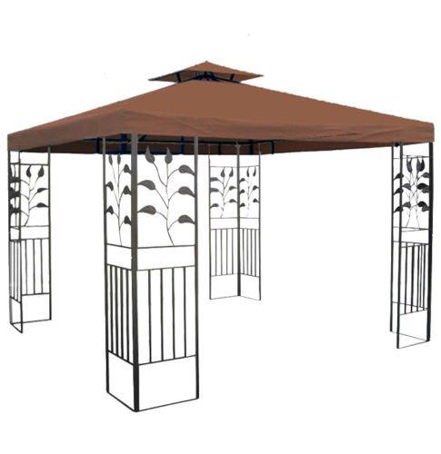 habeig WASSERDICHTER Pavillon TOSKANA 3x3m Metall inkl. Dach Festzelt wasserfest Partyzelt (Braun)