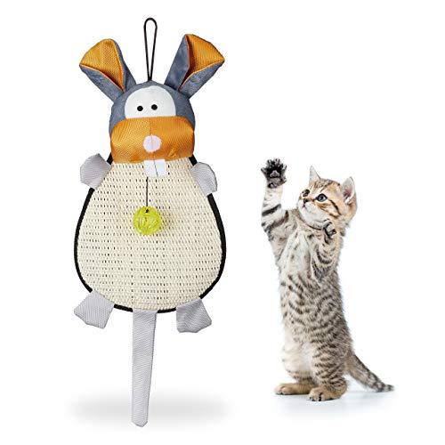 Relaxdays Kratzmatte Katze, Kratzteppich mit Spielzeug, Kugel mit Glöckchen, für die Wand, Sisal, HBT 55x22x10 cm, bunt