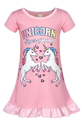 AmzBarley Mädchen Nachthemd Einhorn Kinder Nachtwäsche Nachtkleid Regenbogen Kurze Ärmel Nachtwäsche Nachthemden Morgenmäntel
