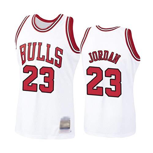 Camiseta de Baloncesto para Hombre, NBA, Chicago Bulls #23 Michael Jordan. Bordado, Transpirable y Resistente al Desgaste Camiseta para Fan (Blanca, 3XL)