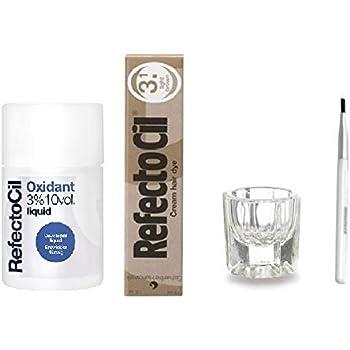 REFECTOCIL COLOR KIT- Light Brown Cream Hair Dye + Liquid Oxidant 3% 3.38 oz + Mixing Brush + Mixing Dish