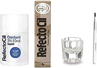 REFECTOCIL COLOR KIT- Light Brown Cream Hair Dye + Liquid Oxidant 3% 3.38 oz + Mixing Brush + Mixing Dish