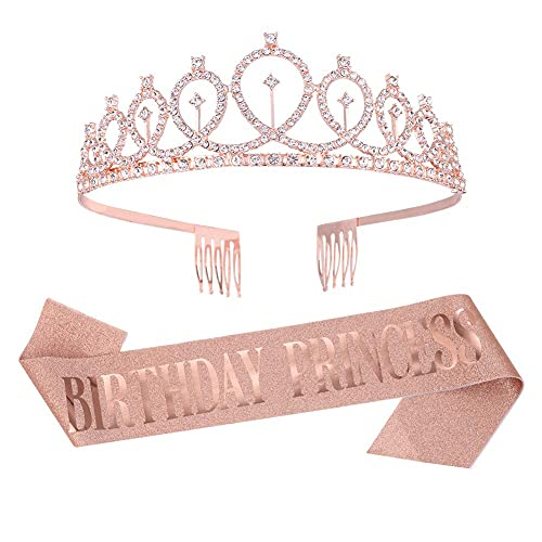 Yorgewd Birthday Crown Birthday Sash Rhinestone Birthday Tiara'Birthday Princess' for Women Girls Happy Birthday Party Supplies, Favors, Party Decorations