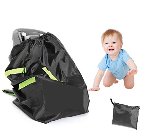 Car Seat Travel Carrier Bag Cover Airplane Gate Check Backpack for Traveling, Airport Safety Deluxe, Big, Waterproof Safety Wrap-Protector| Durable 420D Oxford Fabric, Fits Car Seats, Infant Carriers