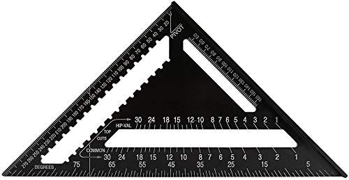 三角スケール 建築用 三角定規 トライアングル 三角ルーラー アルミニウム合金 分度器 三角スクエア測定ツール 作業用 大工用具 直角 90度と45度の三角定規
