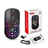 Gaming Mouse, LiadFngKA Wired Type-C + 2.4G Wireless Dual-Mode Mouse RGB Glare Gaming Mouse, Up to 1000 DPI 6 Levels Adjustable DPI, 550mAh Battery Long Term Standby & Automatic Sleep in 5 Seconds